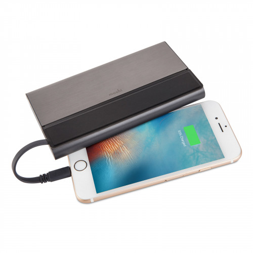 Moshi IonBank 10K with Lightning/USB Cable - Gunmetal Gray with built-in cables