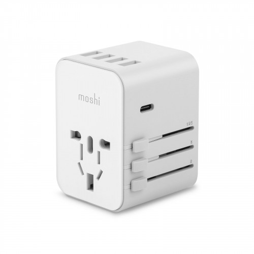 Moshi World Travel Adapter with USB-C and USB-A Ports - White power up in over 150 countries